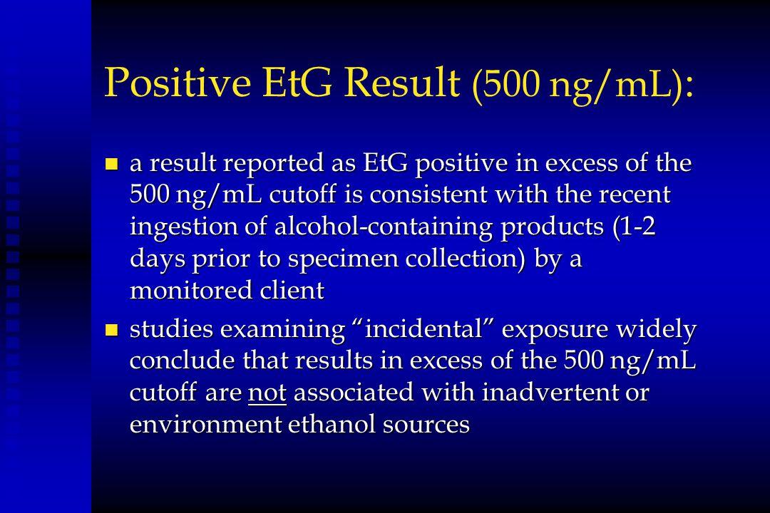 Positive EtG Result (500 ng/mL):