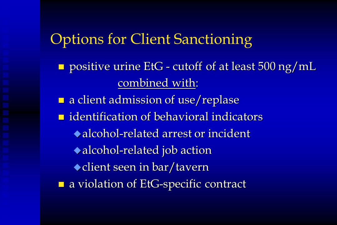 Options for Client Sanctioning