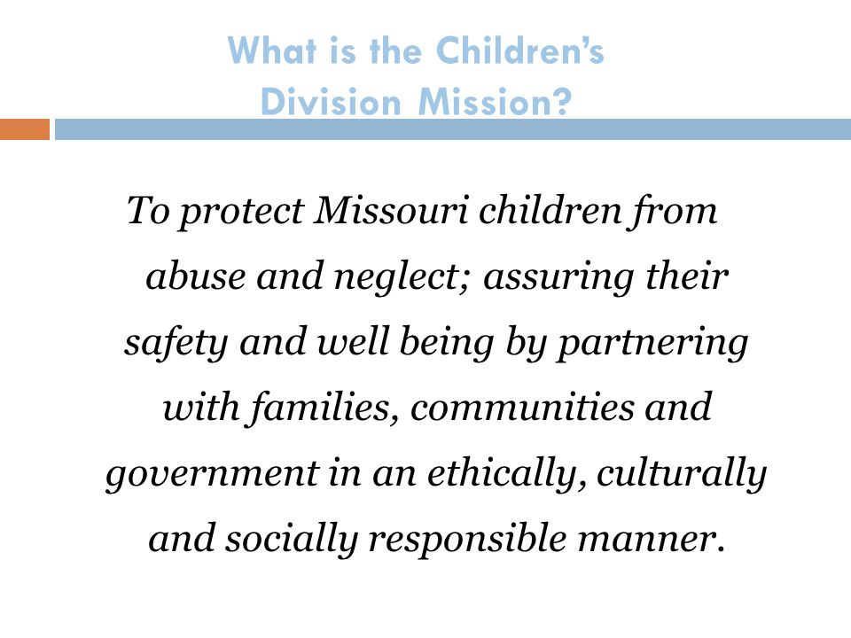 What is the Children's Division Mission