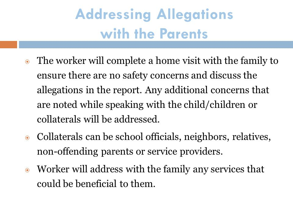 Addressing Allegations with the Parents