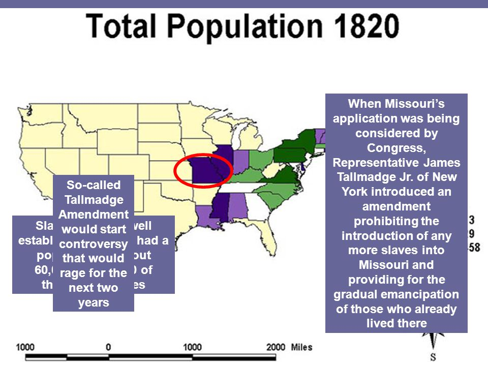 In 1819, the territory of Missouri applied for statehood