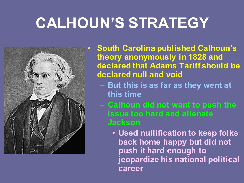 CALHOUN'S STRATEGY South Carolina published Calhoun's theory anonymously in 1828 and declared that Adams Tariff should be declared null and void.