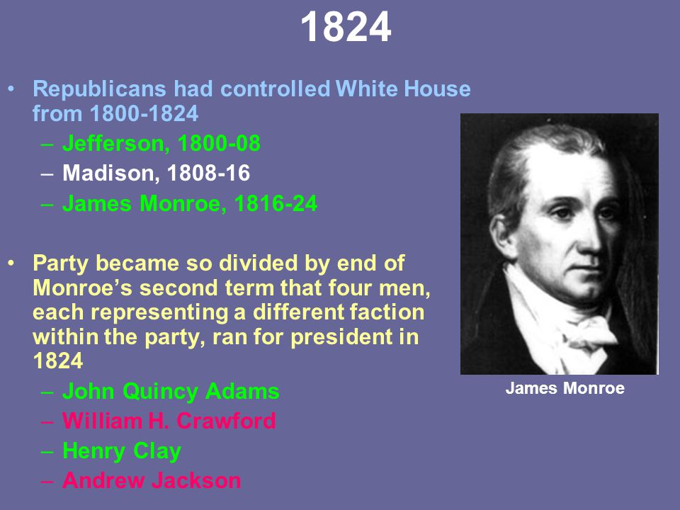 1824 Republicans had controlled White House from 1800-1824