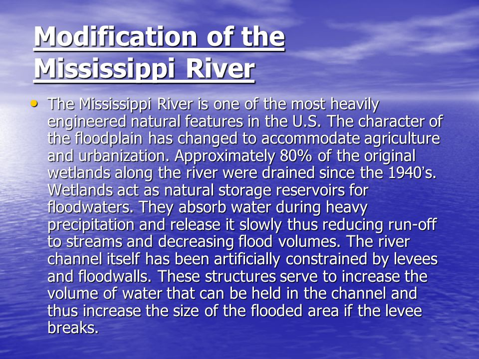 Modification of the Mississippi River