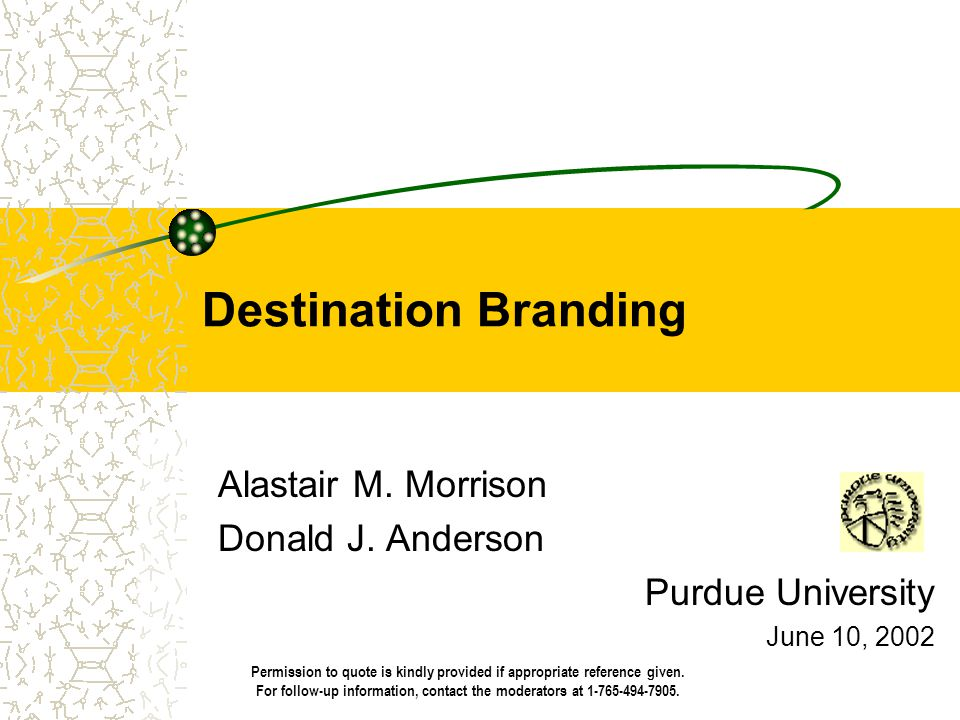 Destination Branding Alastair M. Morrison Donald J. Anderson