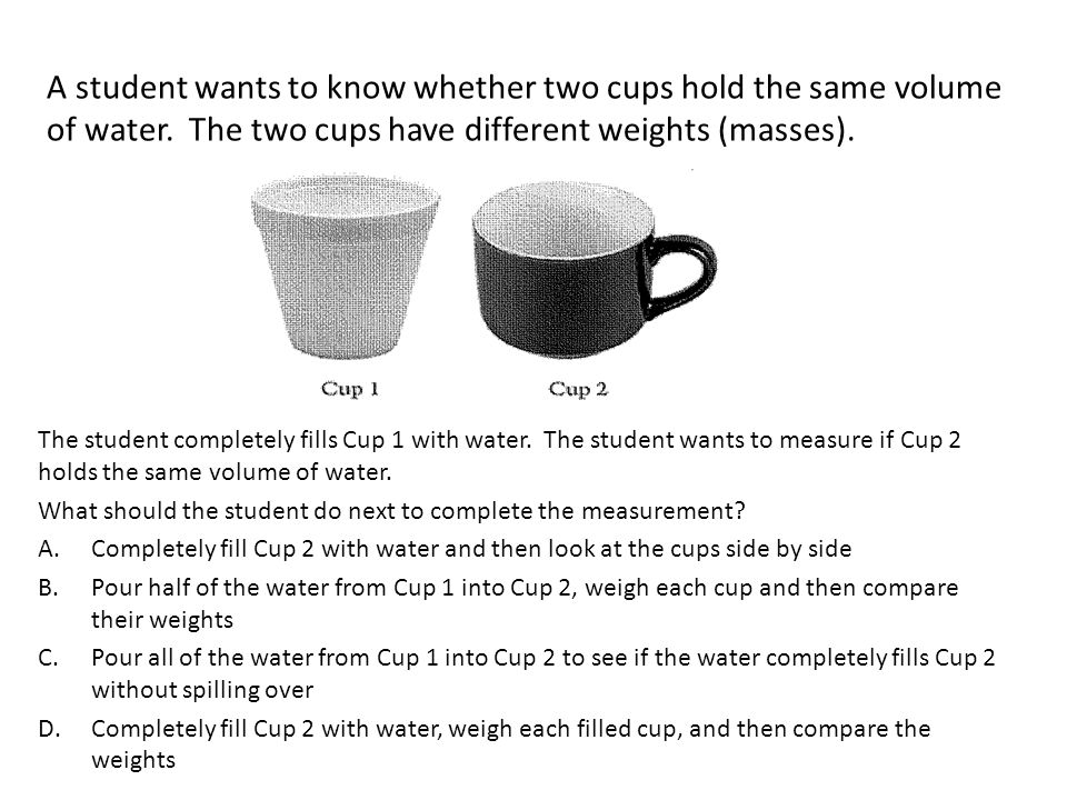 A student wants to know whether two cups hold the same volume of water