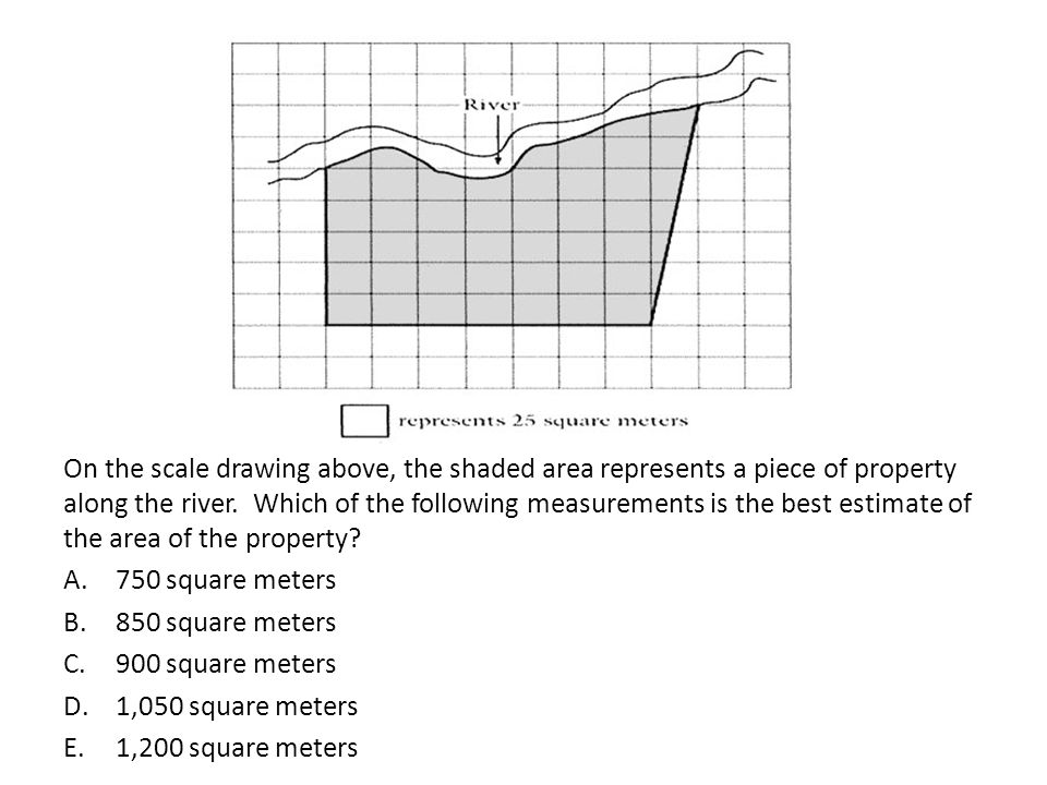 On the scale drawing above, the shaded area represents a piece of property along the river. Which of the following measurements is the best estimate of the area of the property