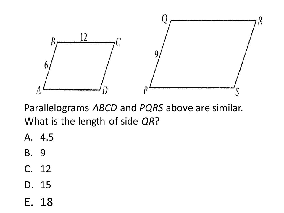 Parallelograms ABCD and PQRS above are similar