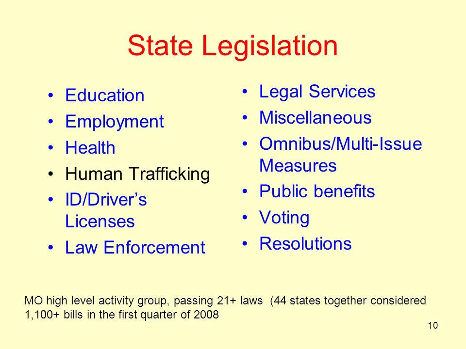 State Legislation Legal Services Education Miscellaneous Employment
