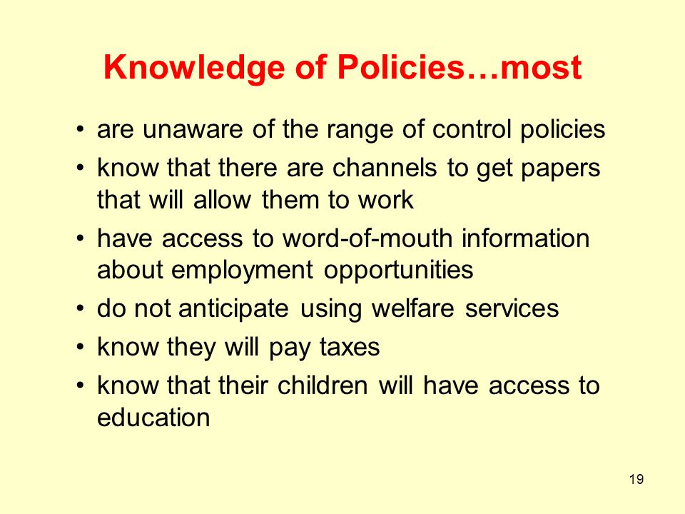 Knowledge of Policies…most