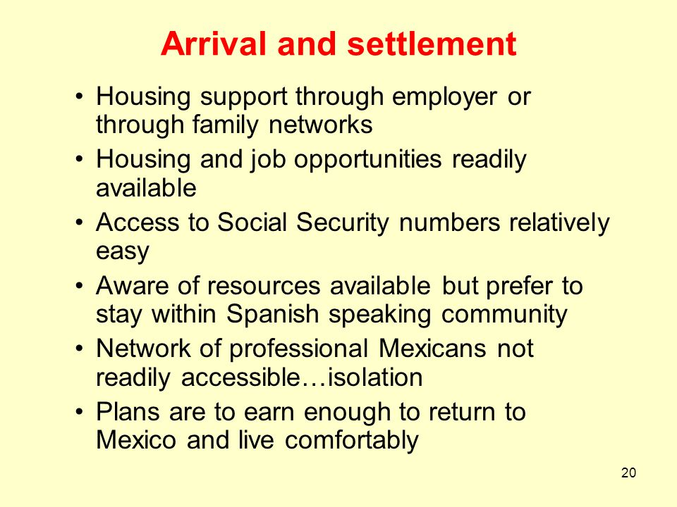 Arrival and settlement