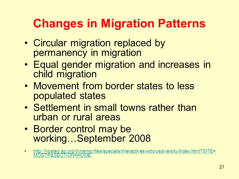 Changes in Migration Patterns