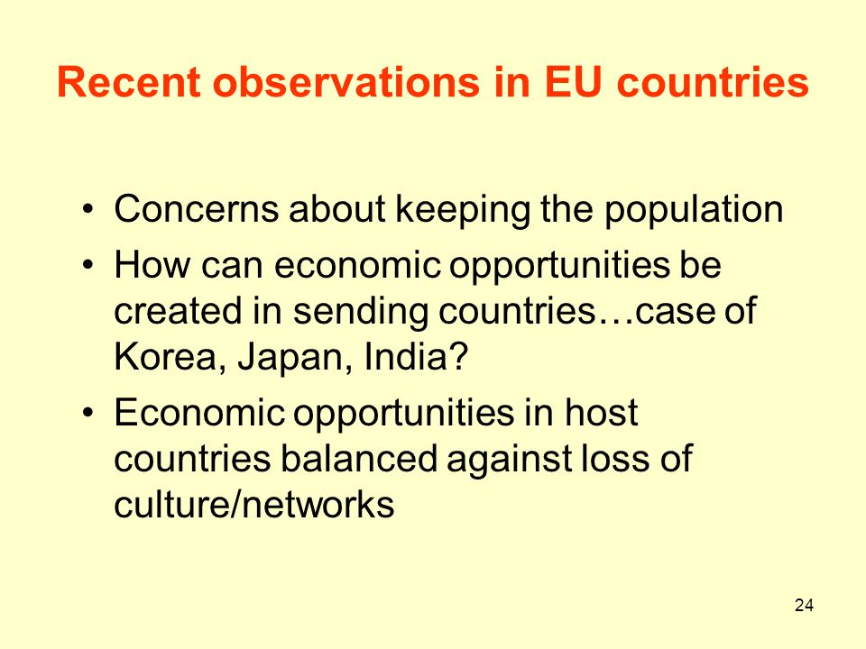Recent observations in EU countries