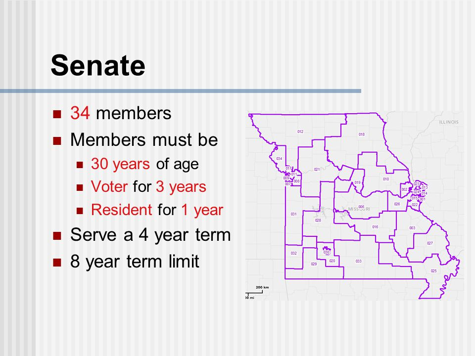 Senate 34 members Members must be Serve a 4 year term
