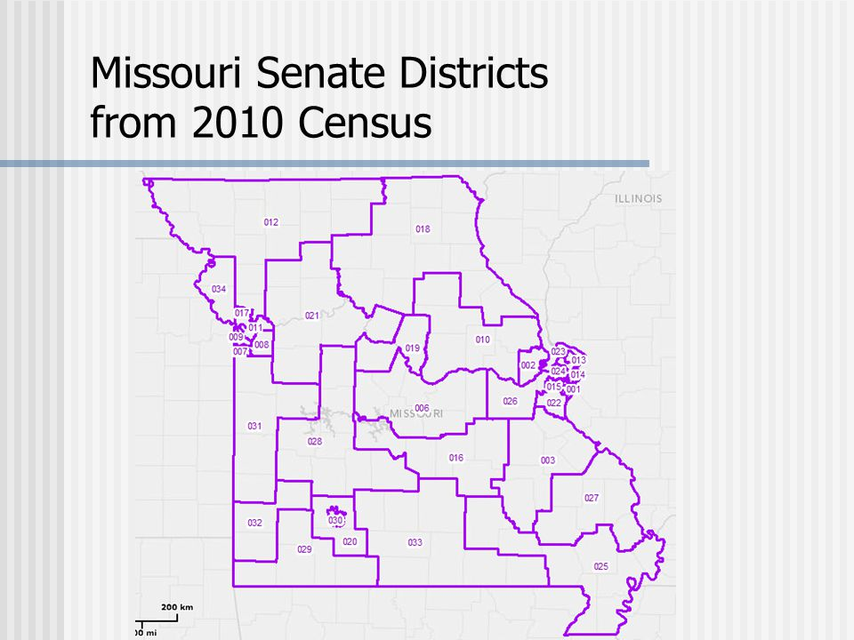 Missouri Senate Districts from 2010 Census