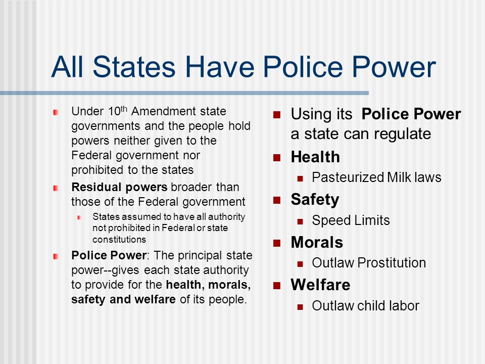 All States Have Police Power