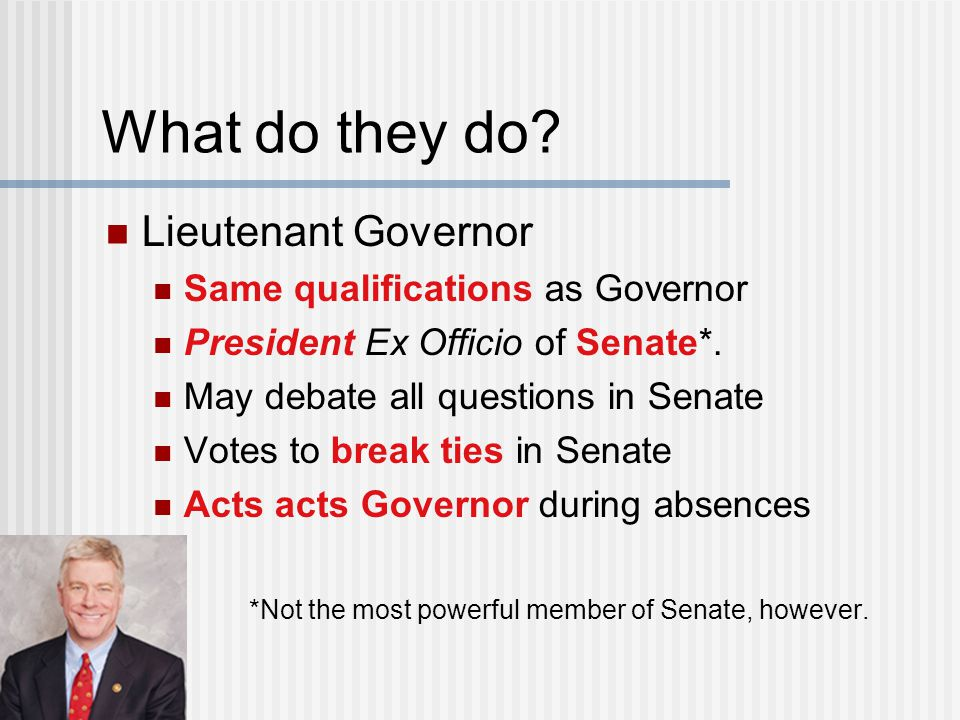 What do they do Lieutenant Governor Same qualifications as Governor