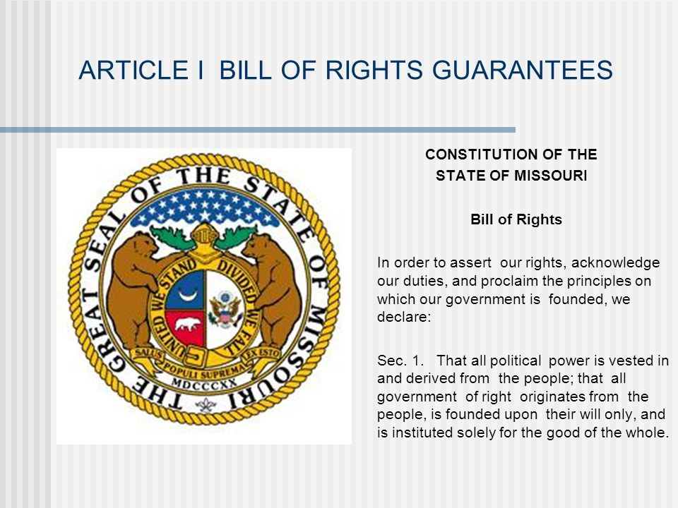 ARTICLE I BILL OF RIGHTS GUARANTEES