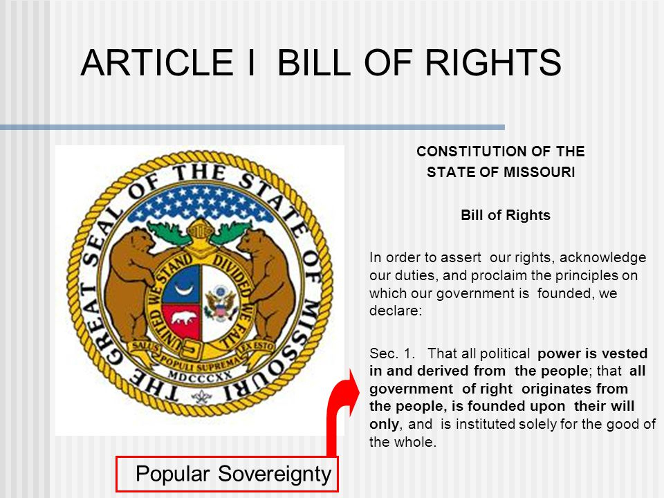 ARTICLE I BILL OF RIGHTS