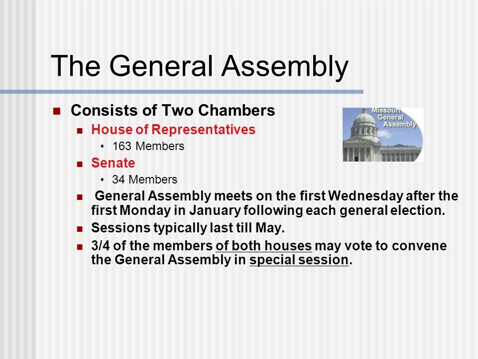 The General Assembly Consists of Two Chambers House of Representatives