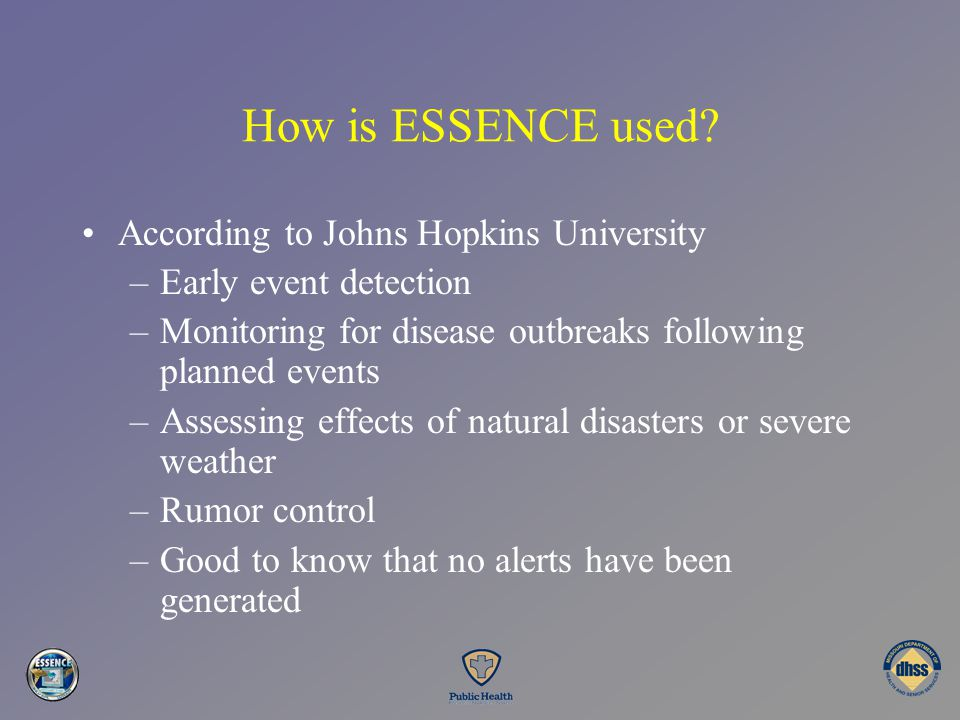 How is ESSENCE used According to Johns Hopkins University