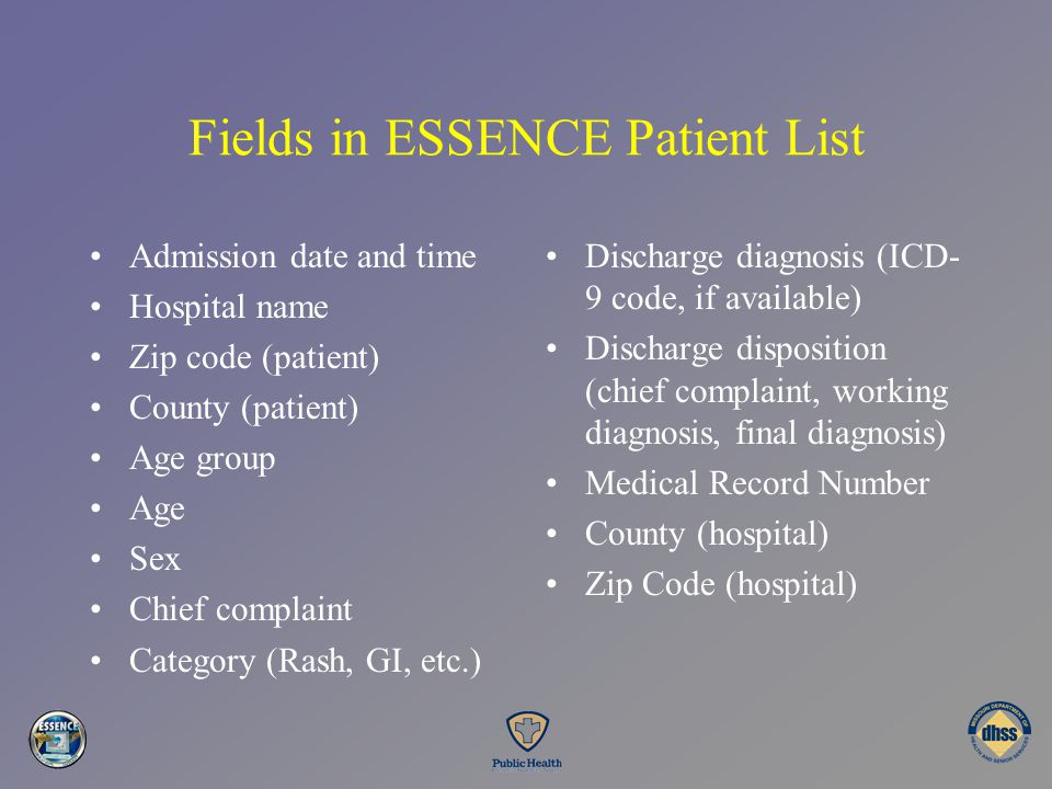 Fields in ESSENCE Patient List