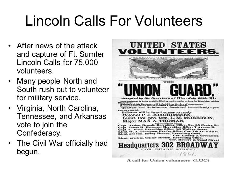 Lincoln Calls For Volunteers