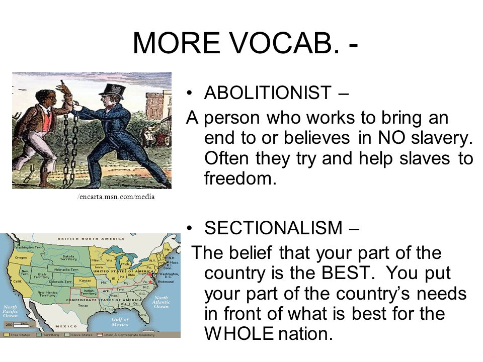 MORE VOCAB. - ABOLITIONIST –
