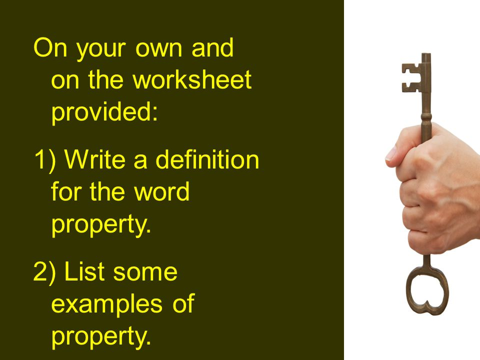 On your own and on the worksheet provided: