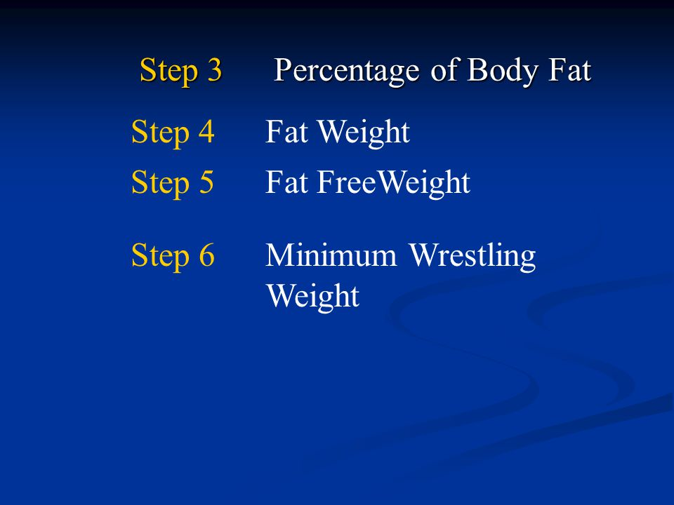Step 3 Percentage of Body Fat