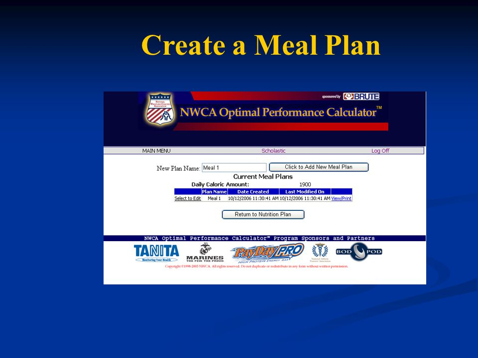 Create a Meal Plan