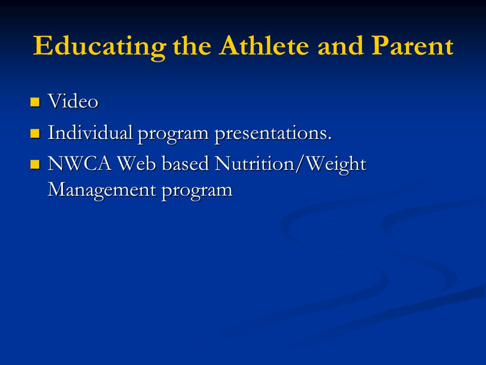 Educating the Athlete and Parent
