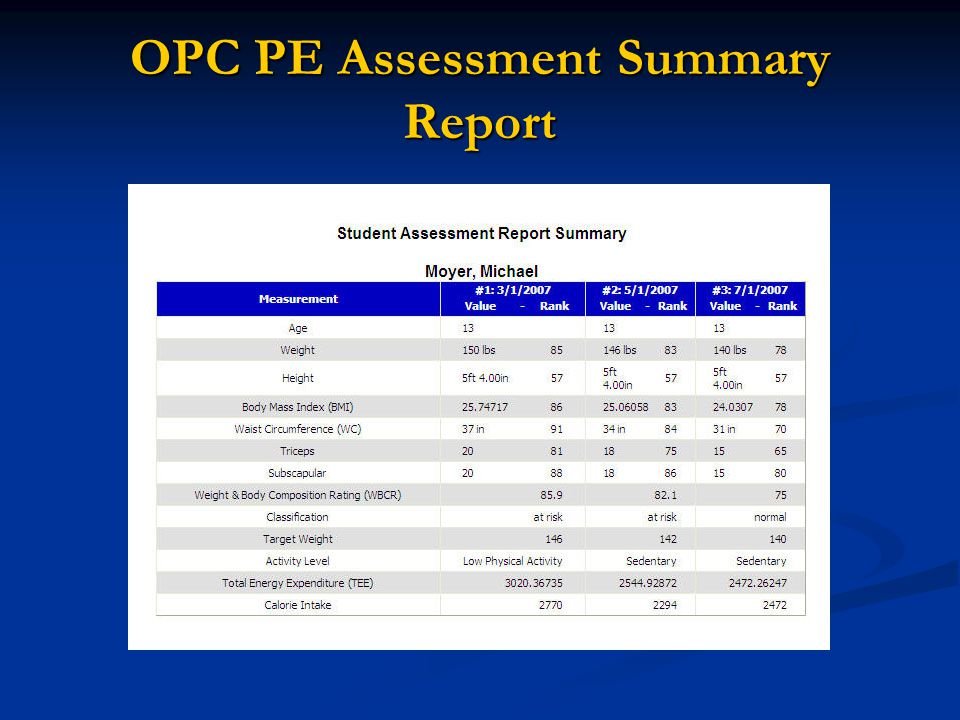 OPC PE Assessment Summary Report