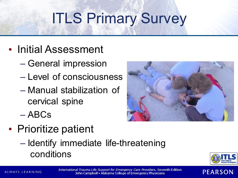 ITLS Primary Survey Fix It Less than 2 minutes