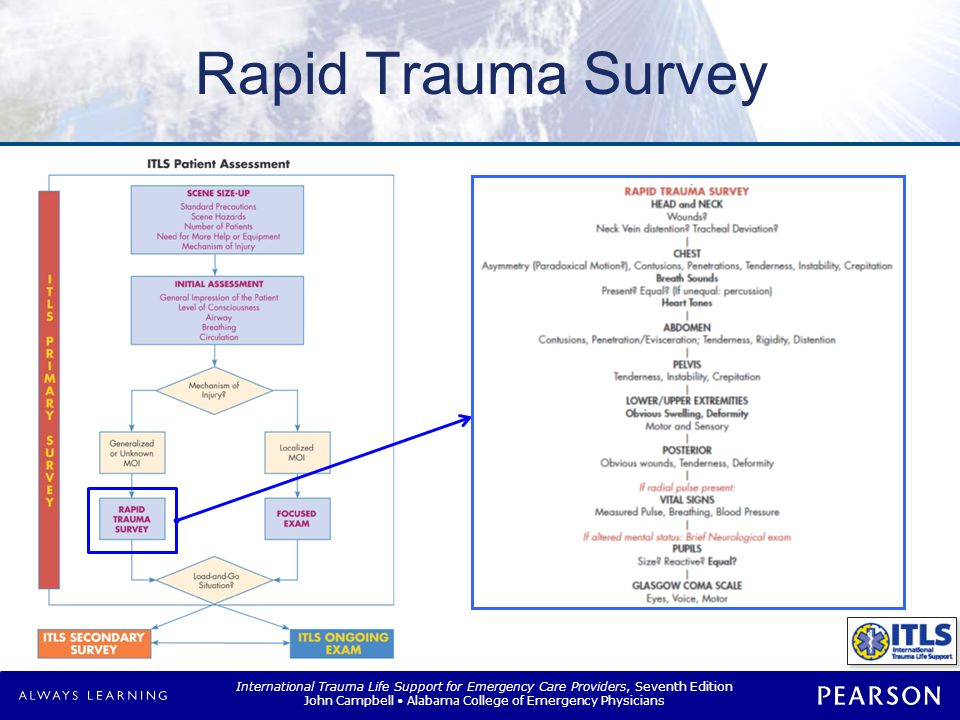 Rapid Trauma Survey Assess Transfer to backboard Head and neck Chest