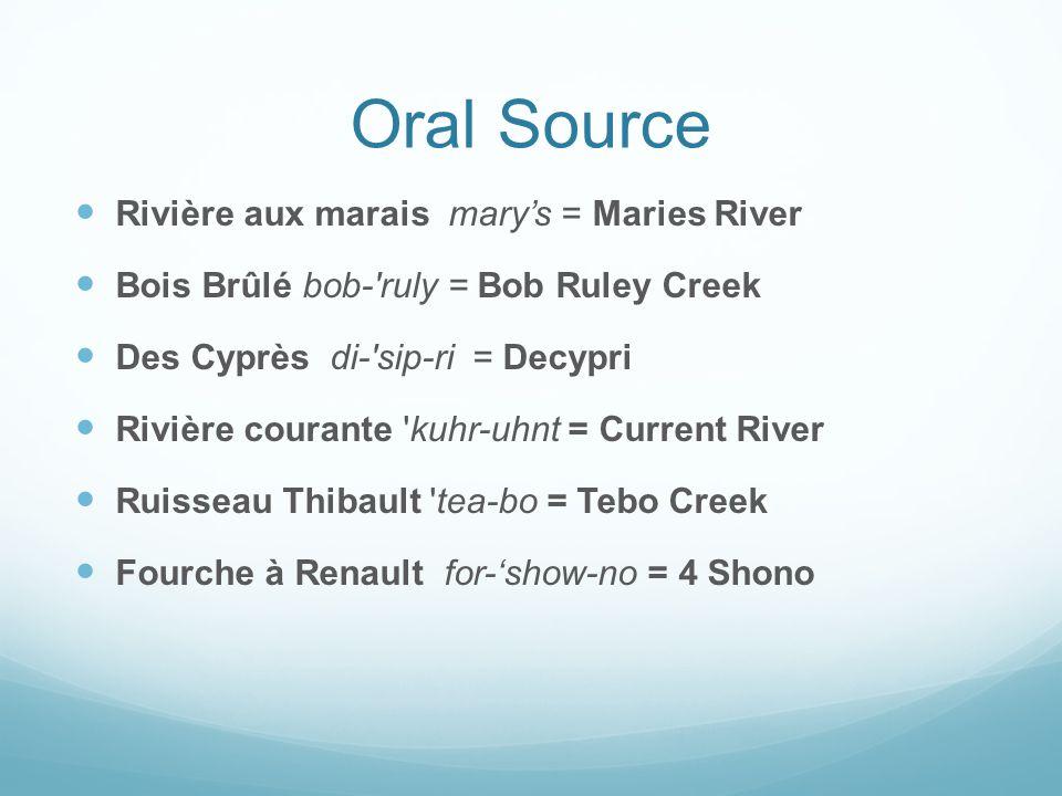 Oral Source Rivière aux marais mary's = Maries River