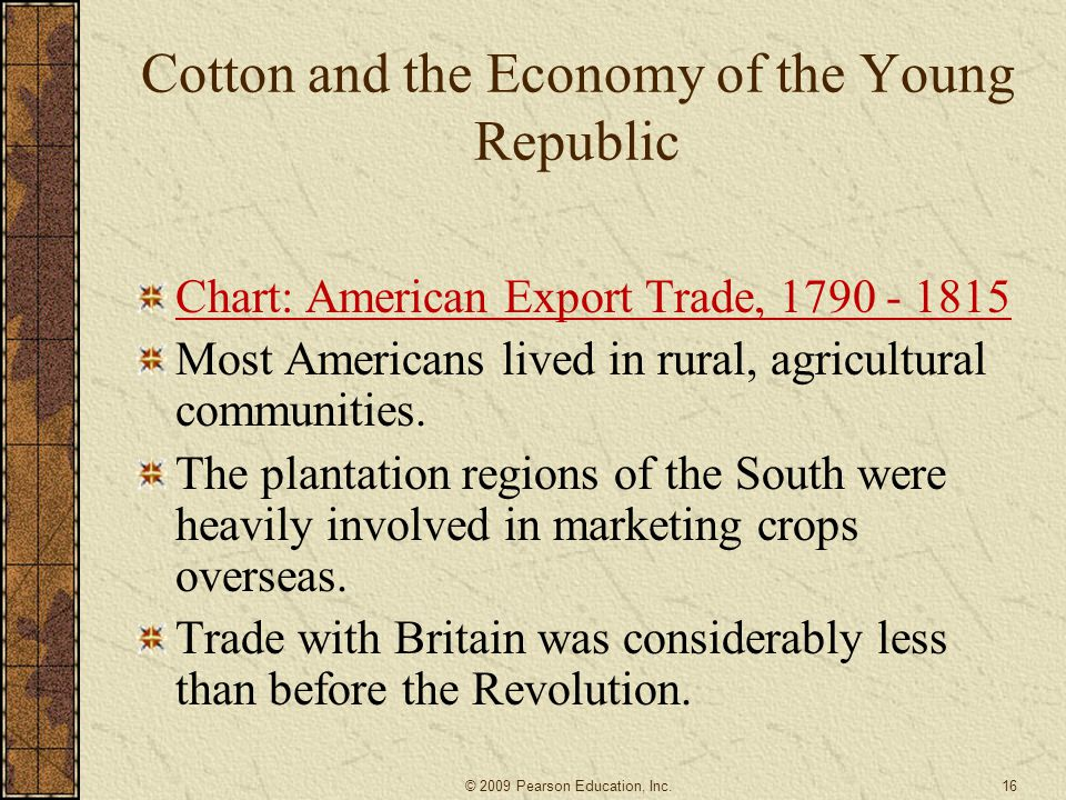 Cotton and the Economy of the Young Republic