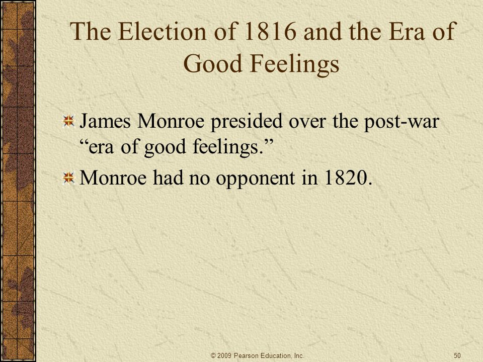 The Election of 1816 and the Era of Good Feelings