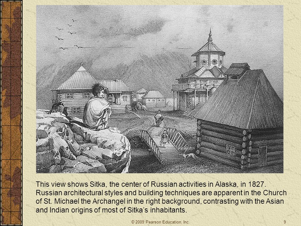 This view shows Sitka, the center of Russian activities in Alaska, in 1827. Russian architectural styles and building techniques are apparent in the Church of St. Michael the Archangel in the right background, contrasting with the Asian and Indian origins of most of Sitka's inhabitants.