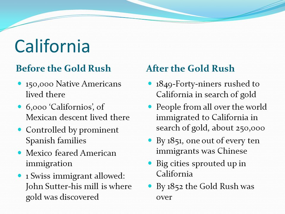 California Before the Gold Rush After the Gold Rush