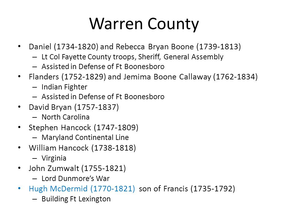 Warren County Daniel (1734-1820) and Rebecca Bryan Boone (1739-1813)
