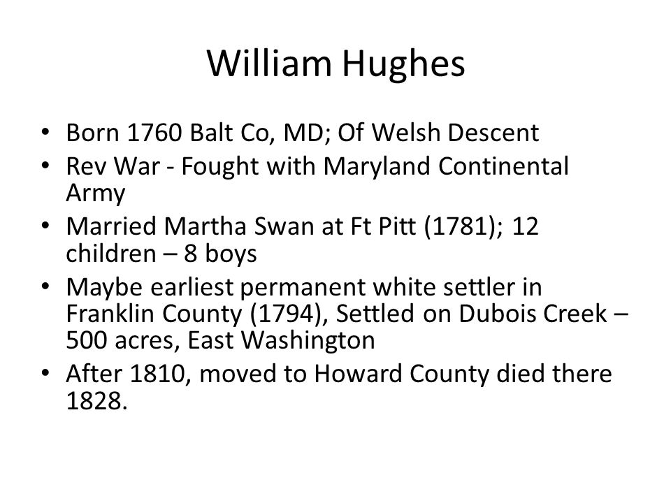 William Hughes Born 1760 Balt Co, MD; Of Welsh Descent