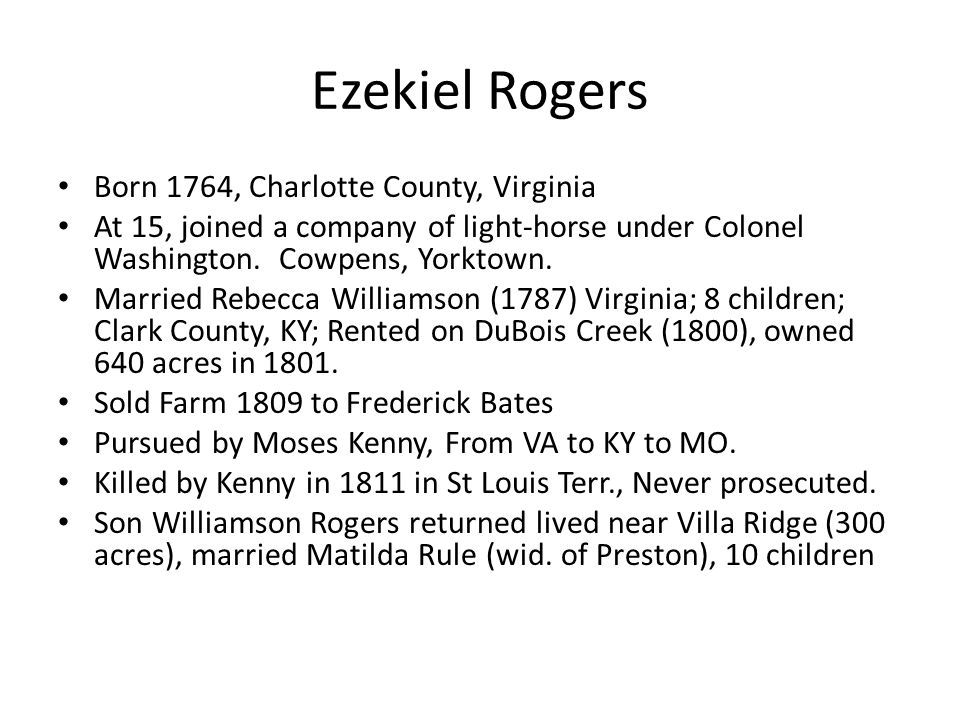 Ezekiel Rogers Born 1764, Charlotte County, Virginia