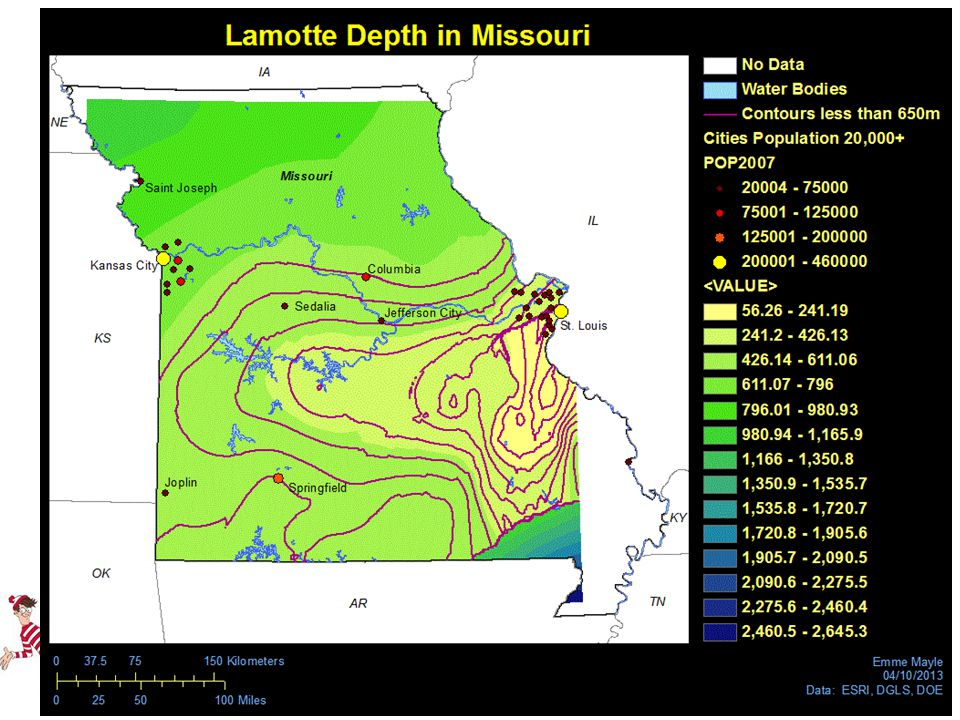 From this analysis, and using Lamotte Sandstone depths retrieved from the Missouri Department of Natural Resources' online well logs, a depth map for the Lamotte Sandstone throughout the state was created.