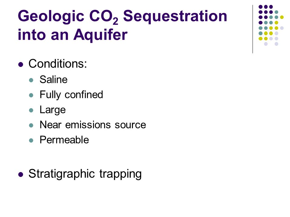Geologic CO2 Sequestration into an Aquifer