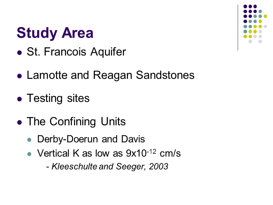 Study Area St. Francois Aquifer Lamotte and Reagan Sandstones