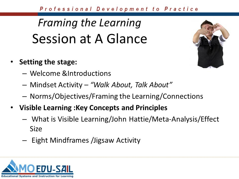 Session at A Glance Framing the Learning Setting the stage: