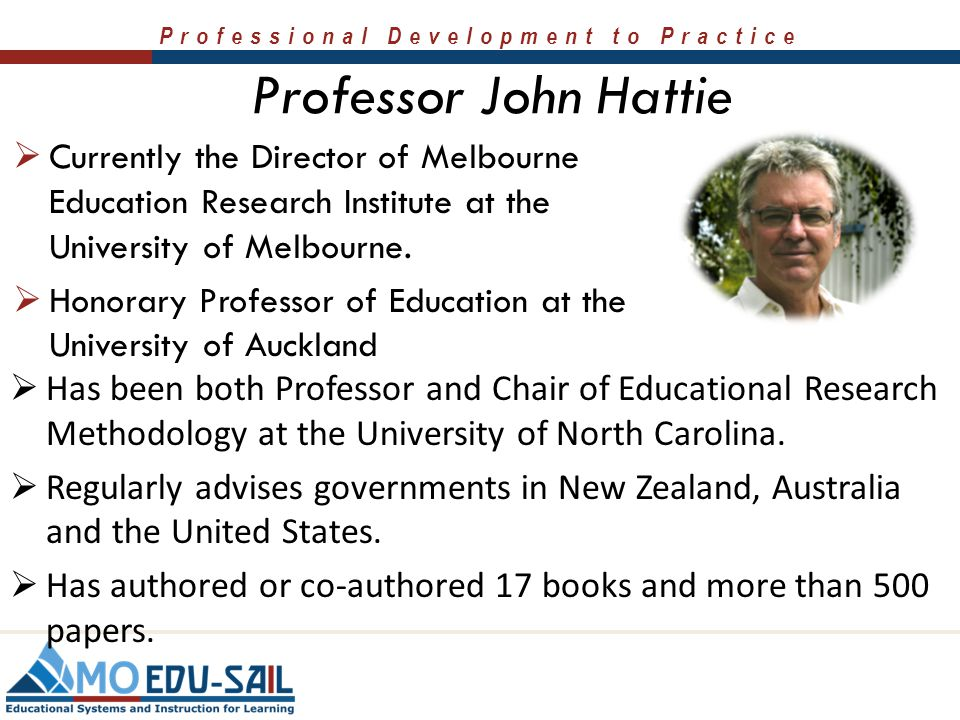 Professor John Hattie Currently the Director of Melbourne Education Research Institute at the University of Melbourne.