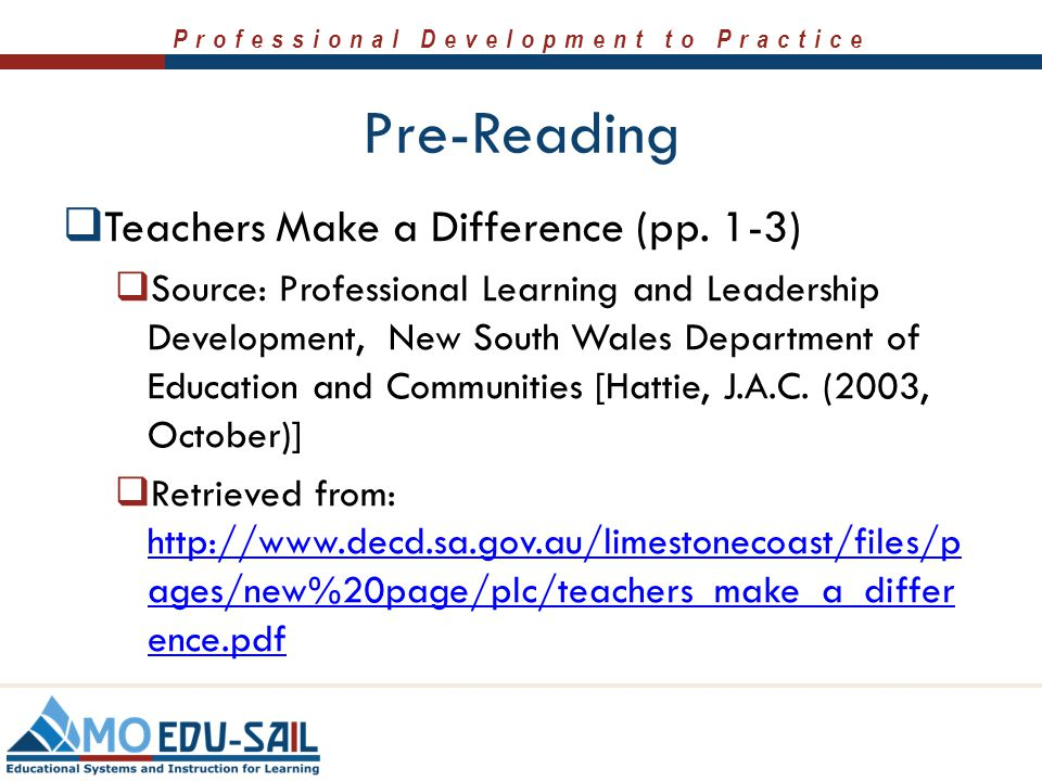 Pre-Reading Teachers Make a Difference (pp. 1-3)