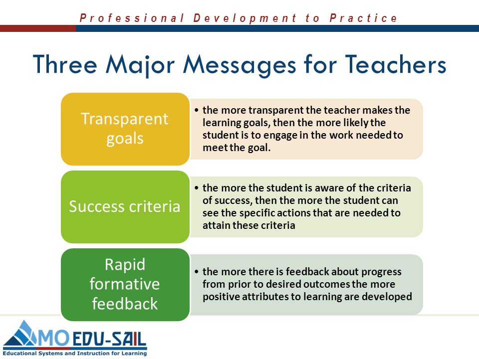 Three Major Messages for Teachers